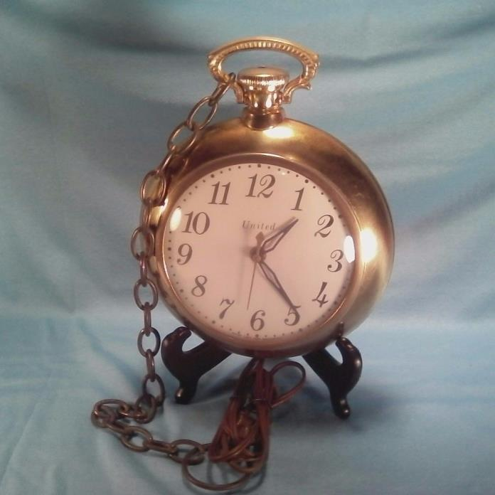 UNITED CLOCK CORP. Mid century Pocket Watch with chain wall clock electric