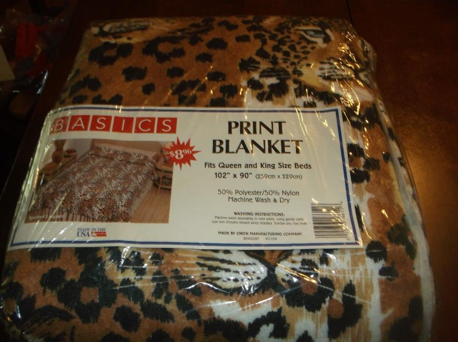 vtg spotted leopard print blanket queen/king, 102 by 90