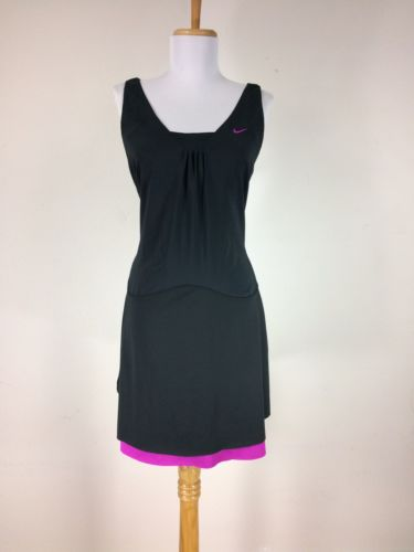Nike Womens Tennis Dress Size Medium Black Pink Dry Fit 8 10