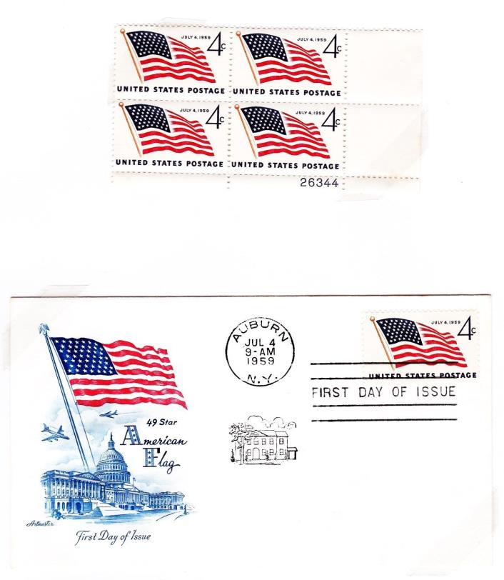US FLAG Sc #1132 Plate Block of 4 MNH and FDC, 49 star flag