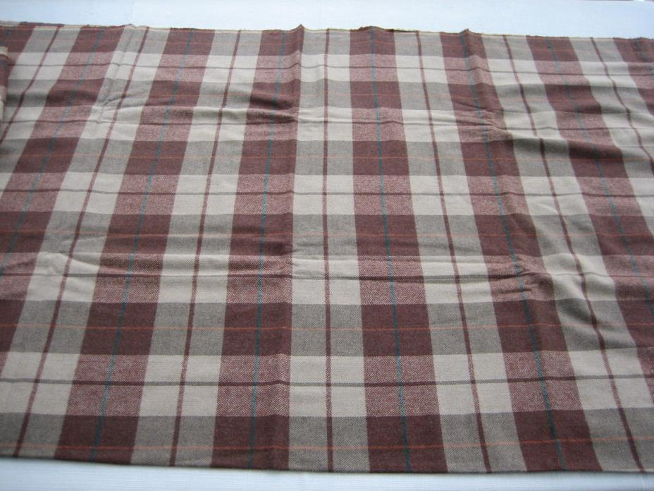 BTY NOS Vintage Wool Blend Light Weight Fabric Brown, Tan, Teal Plaid - 58