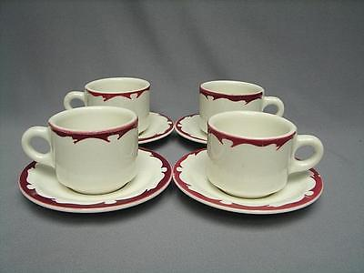 BUFFALO CHINA RESTAURANT WARE RED MAROON SCROLL CREST 6 OZ MUG & SAUCER (4)