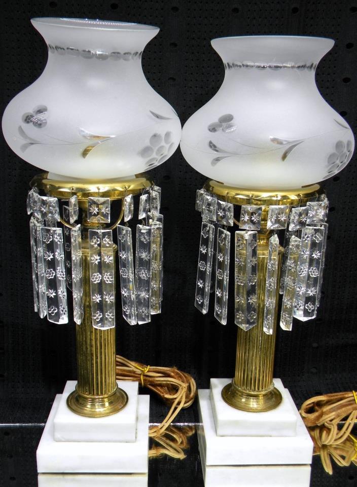 PAIR Lovely Antique Brass Boudoir Lamps Astral Solar Sinumbra Cut Glass Shades