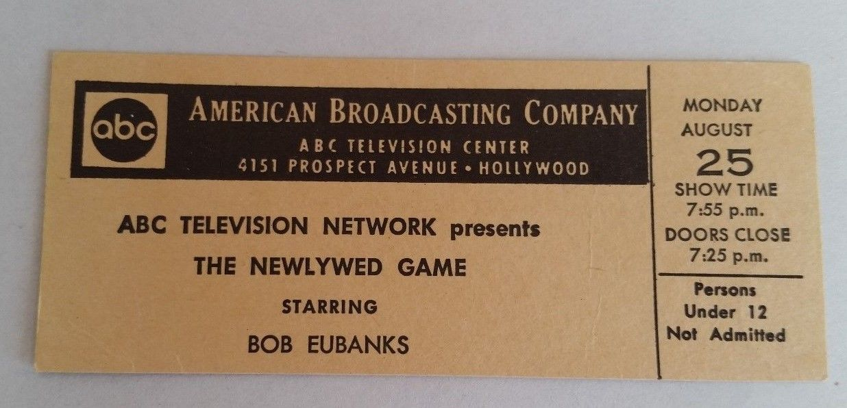 Vintage ABC Television The Newlywed Game Bob Eubanks Show Ticket