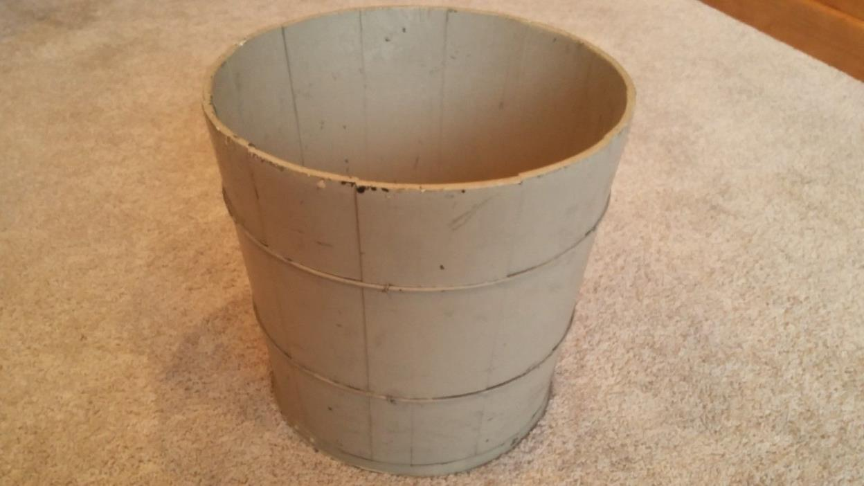 Vintage Antique Wood Bucket Primitive Old Green Paint Country Rustic Farm Barn