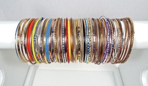 68 Bracelets Metal Bangles Assorted Colors Vintage Modern Estate Jewelry Lot