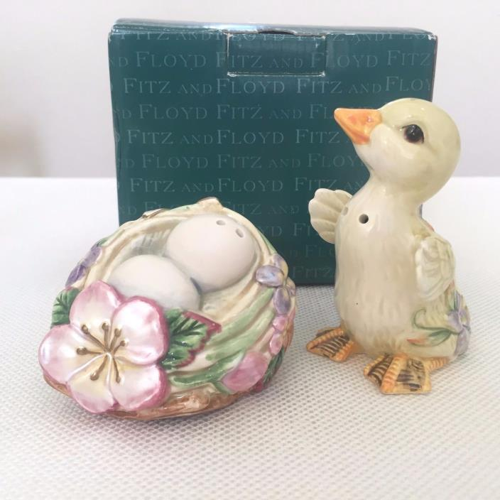 Fitz & Floyd Classics Garden Rhapsody Salt Pepper Shakers Duck Eggs Easter NIB