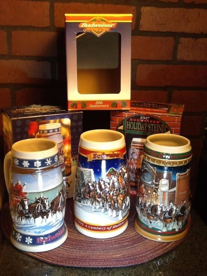Budweiser Holiday Beer Stein Lot  1995,1997, 1999! WITH BOXES!!
