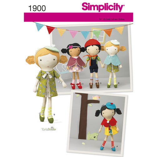 Simplicity 1900 Doll and Clothes Sewing Pattern, DIY Dolls 18