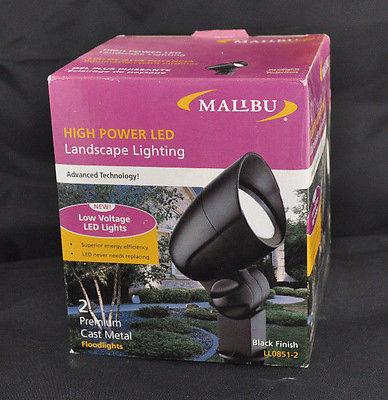 NEW Malibu 2 Pk High Powered Led Low Voltage Landscape Lighting Floodlight Black