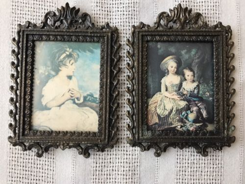 Pair Antique Ornate Square Brass Hanging Picture Frame Victorian Children
