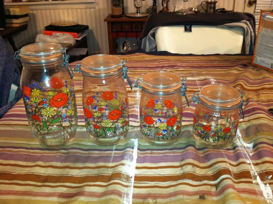 4 - ARC FRANCE FLORAL GLASS MASON JAR WIRE CANISTERS SET!!  FREE SHIPPING!!!!!!!