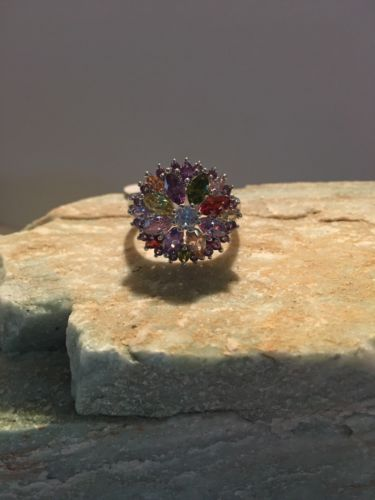NEW AND LARGE MULTI-COLOR STONE RINGS SIZES 10-11-12--R733