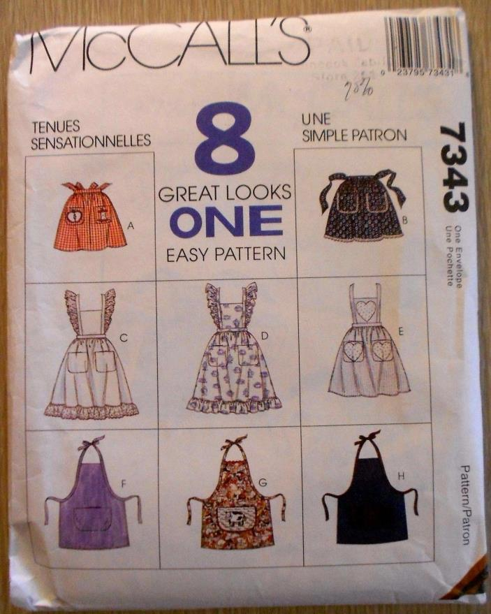 McCall's Pattern #7343, Misses' Aprons ~ 8 Great Looks In One Pattern~Uncut 1994