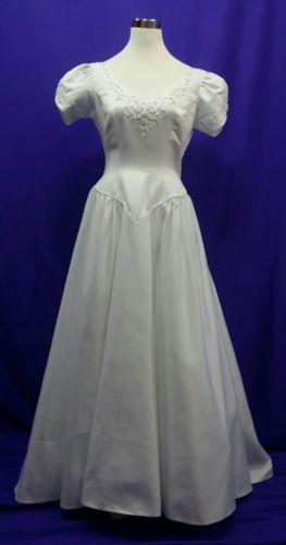 Wedding Dress White Short Sleeve Satin Size 8-10