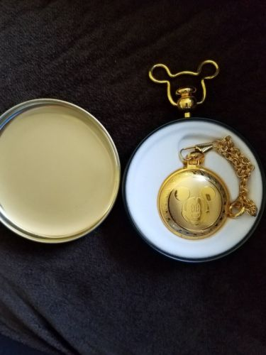 DISNEY MICKEY MOUSE GOLDTONE POCKET WATCH DISNEY TIN  new