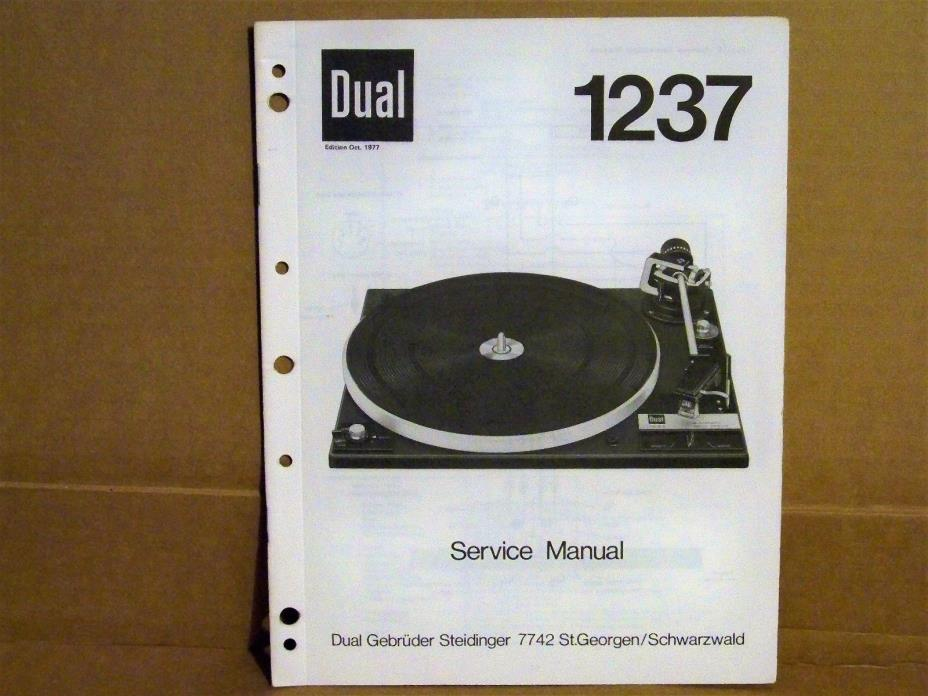 DUAL 1237 Turntable Service Manual - Manufacturer's Original