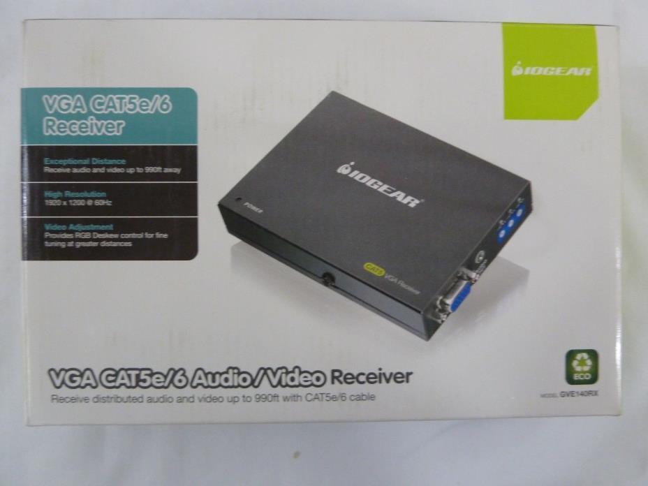 IOGEAR VGA CAT5e/6 Audio/Video Receiver , GVE140RX NEW