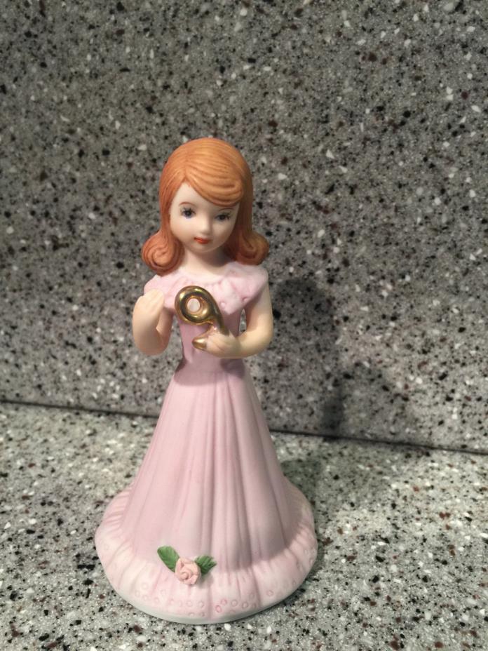 Vintage 1982 Enesco Growing Up Birthday Girls Figurine - Year 9 Brunette