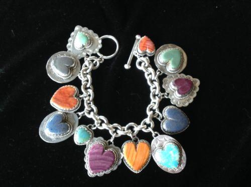 Joan Slifka Sterling Silver Heart Bracelet Incredible Stones! Charms On Back!