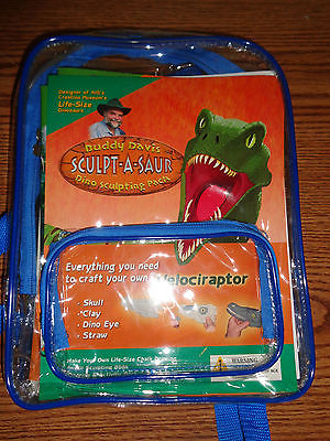 Buddy Davis Sculpt-A-Saur Dinosaur Sculpting Back Pack Craft Velociraptor NEW