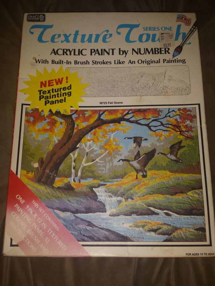 Craft House Texture Touch Acrylic Paint by Number Set Fall Scene #18723