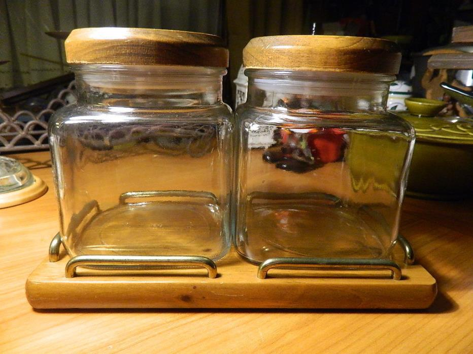 2 square glass canisters w/ pine wood lids & tray by colonial kitchen WI