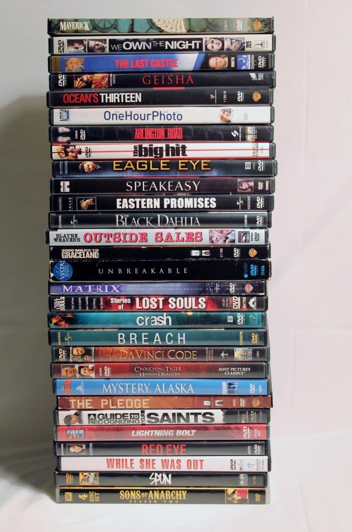 Lot of 29 DVDs Drama Action Adventure Breach Crash Geisha Red Eye Spun Maverick