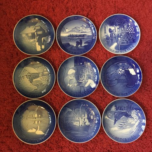 Bing & Grondahl B & G Collector Plates Winter Christmas Lot Of 9 Blue White