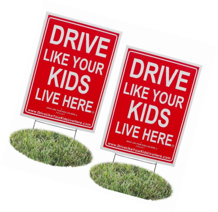 2 Pack Drive Like Your Kids Live Here Yard Sign Slow Children At Play Reminder