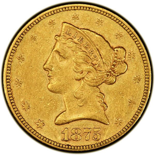 1875 $5 PCGS AU53 CAC