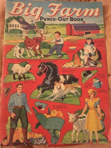 VNTG Big Farm Punch Out Book #3495 Merrill 1940~LgFORMAT~STANDUpFARMHOUSE~HORSES