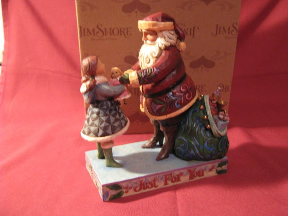 2007 Christmas JIM SHORE Heartwood Creek JUST FOR YOU Santa with Girl 4009050