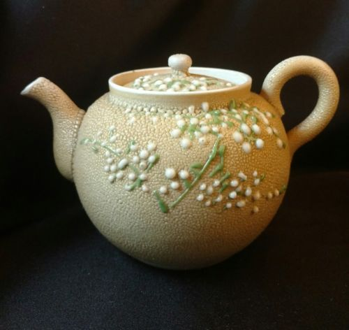 Old Japanese Moriage Sharkskin Pottery Teapot Orange Peel  Glaze