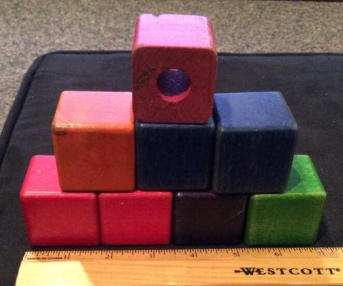 8 Vintage Larger Sized Wooden Toy Building Blocks