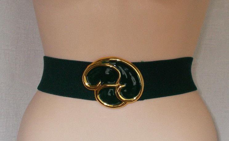 Day-Lor Enamel Paint Buckle Green Stretch Belt 29