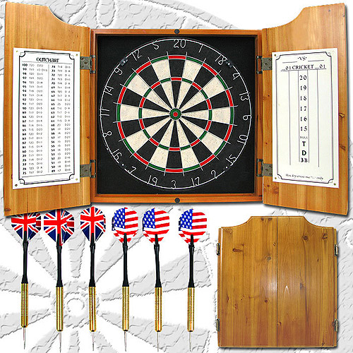 Professional Dart Board Cabinet Set Solid Wood Indoor Outdoor Game Cabinet Style