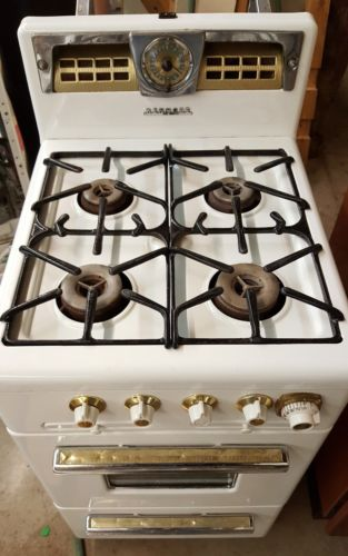 Vintage Kenmore Roper Apartment Size Gas Stove Gold Trim Glass Window Dash light