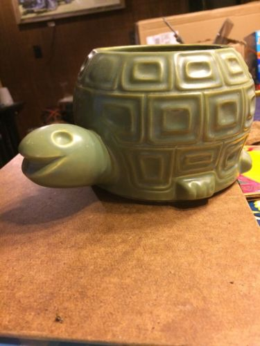 1970s McCoy Pottery Turtle Planter Basket Flower Pot