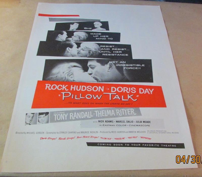 Movie Ad---PILLOW TALK--- 1959 ---ROCK HUDSON---DORIS DAY