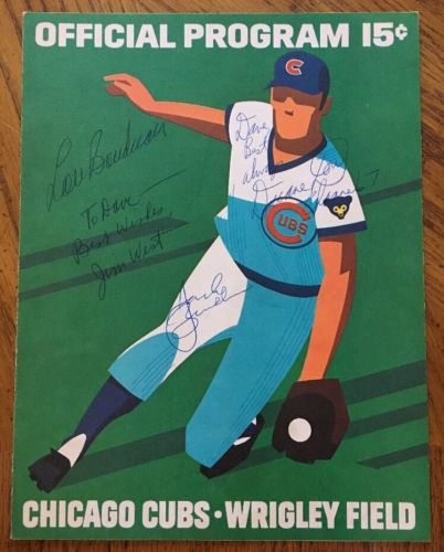 1972 Chicago Cubs Autographed Wrigley Field Scorecard Brickhouse, Boudreau, more