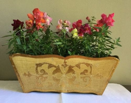 Vintage Wooden Gold Planter Box By Florentia Italy Hollywood Regency 60s Tole