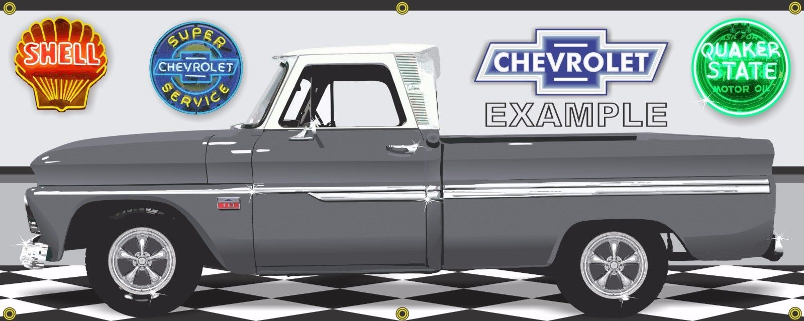 1966 CHEVY CHEVY C10 TRUCK NEBULA GREY CUSTOM GARAGE SCENE BANNER ART MURAL 2X5
