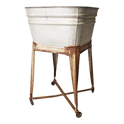 Vintage Single Basin Wash Tub stand metal galvanized hamper country rustic 50s