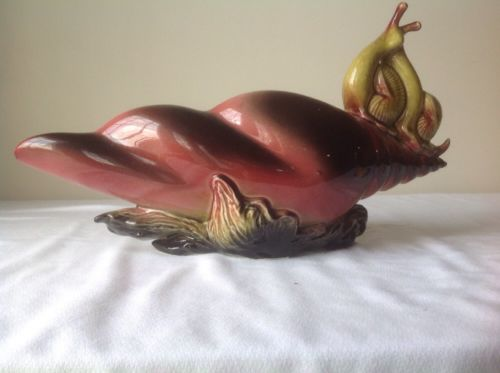 LARGE VINTAGE HULL EBB TIDE SNAIL E-12 POTTERY CONSOLE BOWL AND CANDLE HOLDER