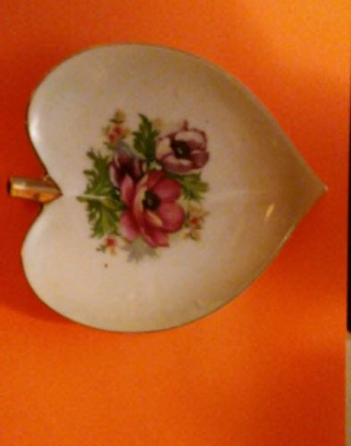 PRICE SLASH - antique fruit shaped plate from japan with flower pictured on face