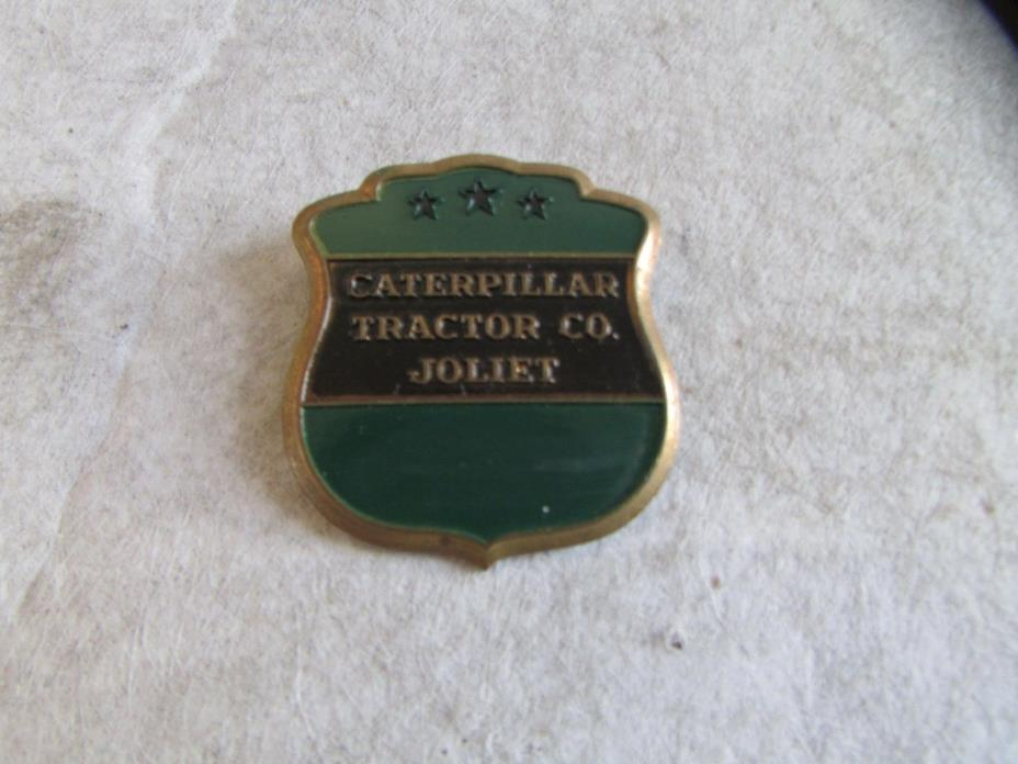 Vintage Caterpillar Tractor Company Employee Badge GREEN SHIELD JOLIET PLANT