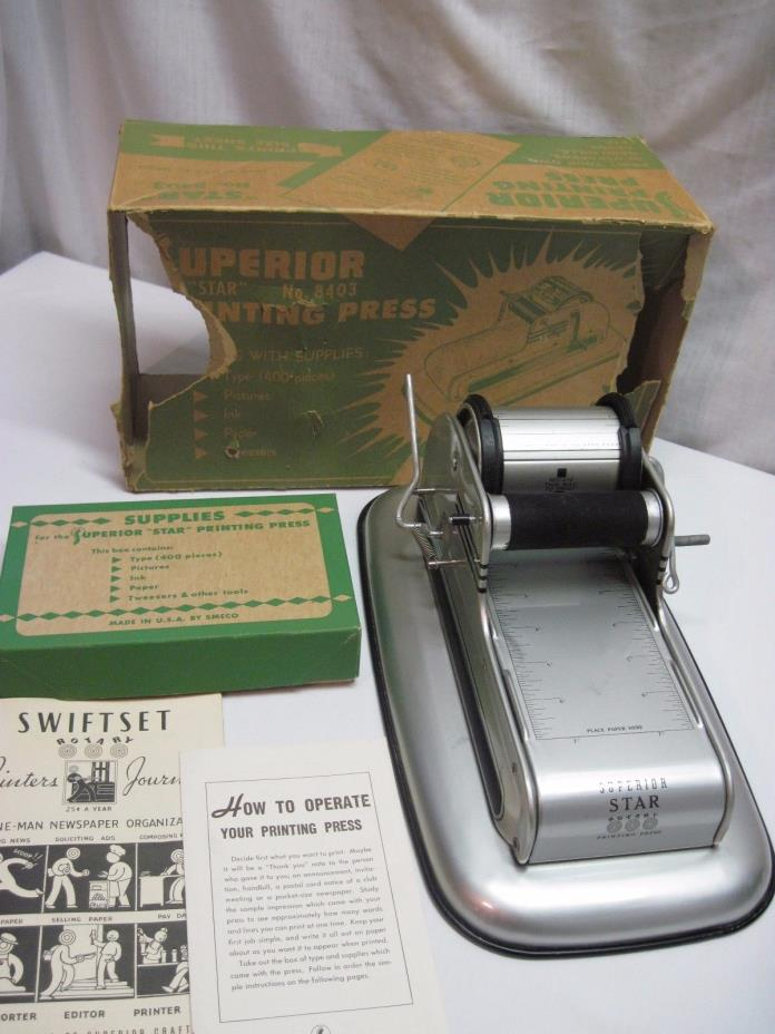 SUPERIOR STAR CHILD's TOY PRINTING PRESS 8403 VINTAGE 1950's WITH DIRECTIONS