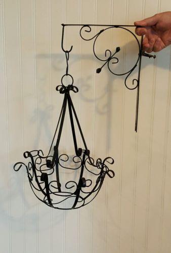 Vtg Hanging Plant Basket Black Wrought Iron Planter with Matching Bracket Hanger