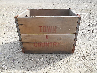 Old Vintage Antique Town and Country Wooden Crate Box Wisconsin Beverage / Soda